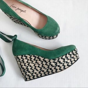 Free People Charade Espadrille Wedges in Green